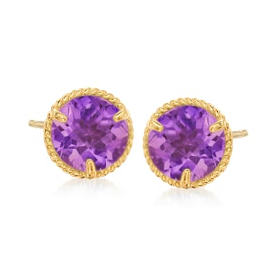 1.50 ct. t.w. Amethyst Roped Halo Stud Earrings in 14kt Yellow Gold