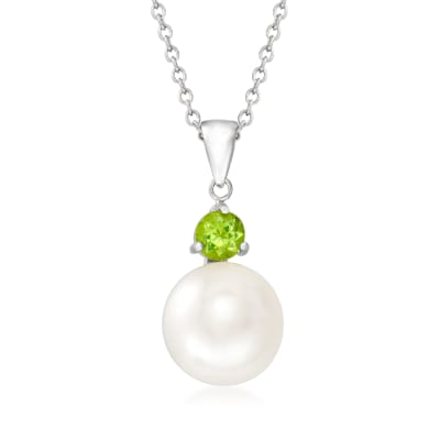 11-11.5mm Cultured Pearl and .80 Carat Peridot Pendant Necklace in Sterling Silver