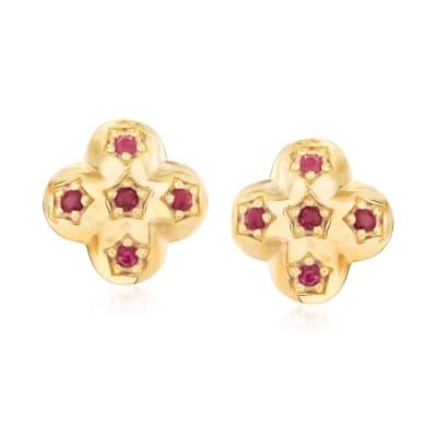 .30 ct. t.w. Ruby Earrings in 18kt Gold Over Sterling