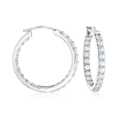 2.40 ct. t.w. Aquamarine Inside-Outside Hoop Earrings in Sterling Silver