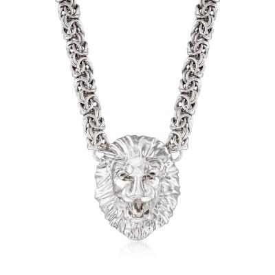 Italian Sterling Silver Byzantine Lion Head Necklace