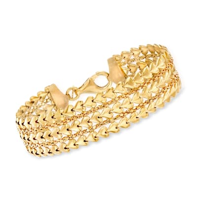 Italian 18kt Gold Over Sterling Multi-Row Heart Bracelet