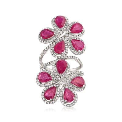 7.50 ct. t.w. Ruby and 1.40 ct. t.w. Diamond Flower Ring in 18kt White Gold