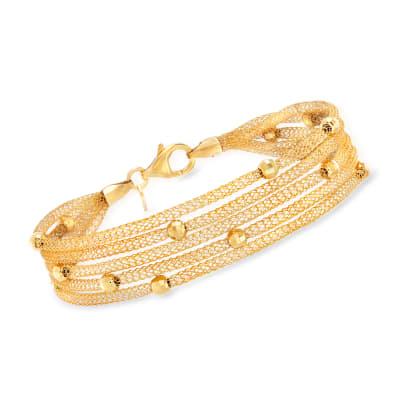 Italian 18kt Gold Over Sterling Multi-Strand Mesh Bracelet