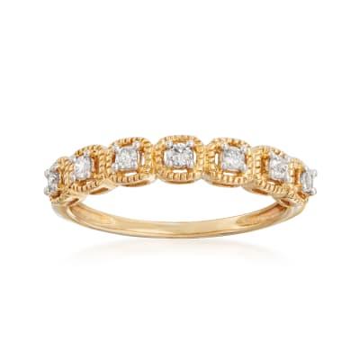 .15 ct. t.w. Diamond Beaded-Edge Ring in 14kt Yellow Gold