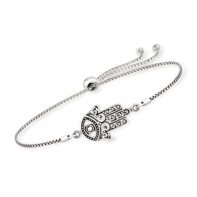 Sterling Silver Bali-Style Hamsa Hand Bolo Bracelet