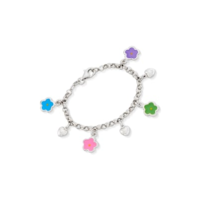 Child's Sterling Silver and Enamel Flower Charm Bracelet