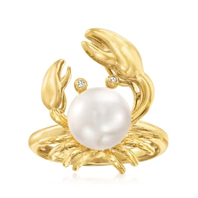 9mm Cultured Pearl Crab Ring with Diamond Accents in 18kt Gold Over Sterling