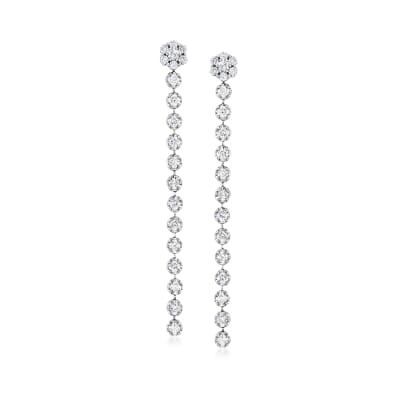 2.45 ct. t.w. Diamond Flower Linear Drop Earrings in 14kt White Gold