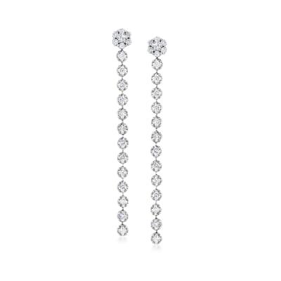 2.45 ct. t.w. Diamond Flower Linear Drop Earrings in 14kt White Gold