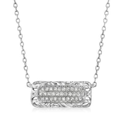 .10 ct. t.w. Diamond Openwork Bar Necklace in 14kt White Gold
