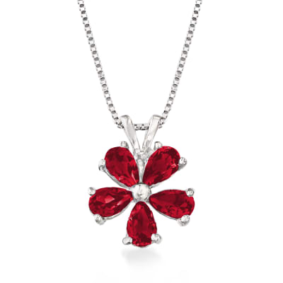 1.25 ct. t.w. Garnet Flower Pendant Necklace in Sterling Silver