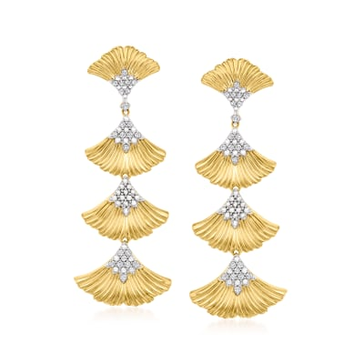 .27 ct. t.w. Diamond Multi-Ginko Leaf Drop Earrings in 18kt Gold Over Sterling