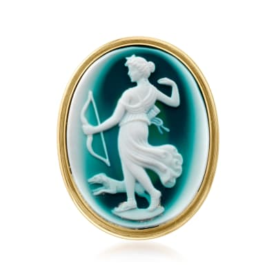 C. 1980 Vintage Blue Agate Cameo Pin/Pendant in 14kt Yellow Gold