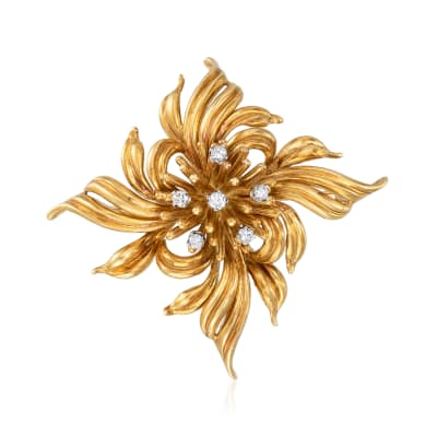 C. 1970 Vintage .25 ct. t.w. Diamond Flower Pin in 18kt Yellow Gold
