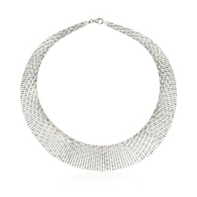 Italian Sterling Silver Diamond-Cut Crisscross Cleopatra Necklace