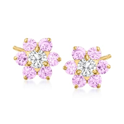 Child's .60 ct. t.w. Pink and White CZ Flower Earrings in 14kt Yellow Gold