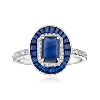 2.70 ct. t.w. Sapphire Ring with .19 ct. t.w. Diamonds in 14kt White Gold