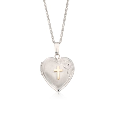 Sterling Silver Heart Locket Necklace with 14kt Yellow Gold Cross