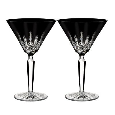 "Waterford Crystal ""Black"" Set of 2 Lismore Martini Glasses"