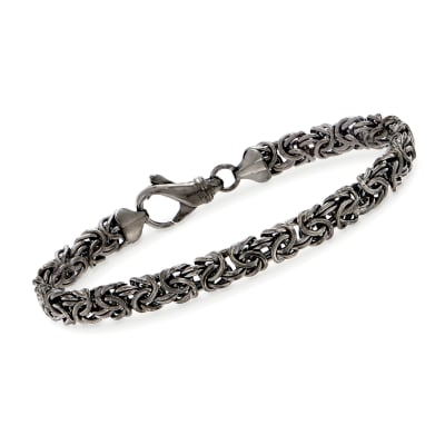 Sterling Silver Byzantine Bracelet in Black