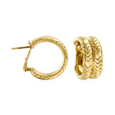 "C. 1980 Vintage Bulgari ""Spiga"" 18kt Yellow Gold Double-Hoop Earrings"