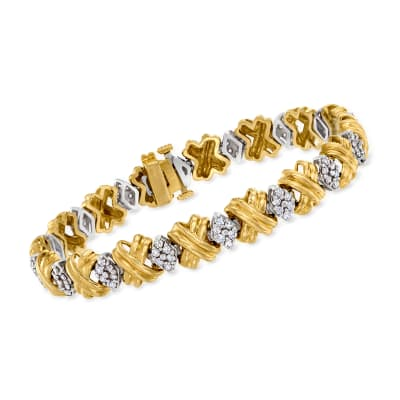 C. 1980 Vintage 2.00 ct. t.w. Diamond Bracelet in 14kt Yellow Gold