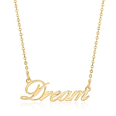 "Italian 14kt Yellow Gold ""Dream"" Necklace"