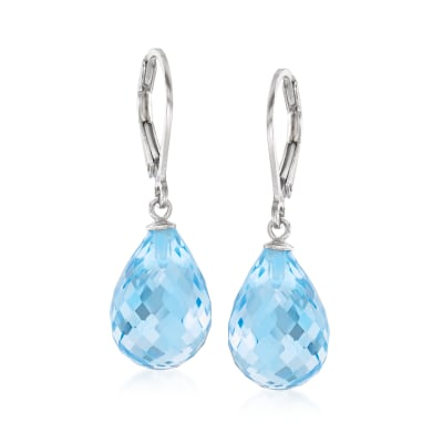 15.00 ct. t.w. Sky Blue Topaz Drop Earrings in Sterling Silver