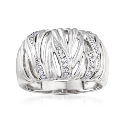 .10 ct. t.w. Diamond Bark Ring in Sterling Silver