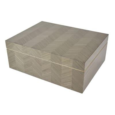 Gray Chevron Wooden Box
