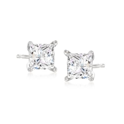 1.00 ct. t.w. Princess-Cut Diamond Stud Earrings in 14kt White Gold