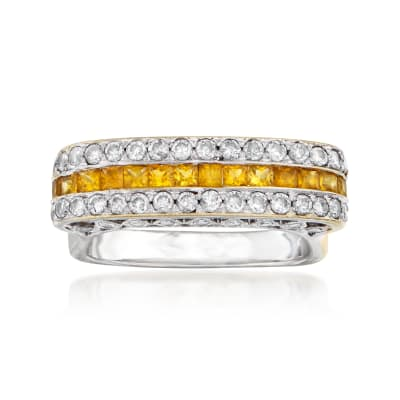 C. 1980 Vintage .80 ct. t.w. Diamond and .75 ct. t.w. Yellow Sapphire Ring in 18kt White Gold