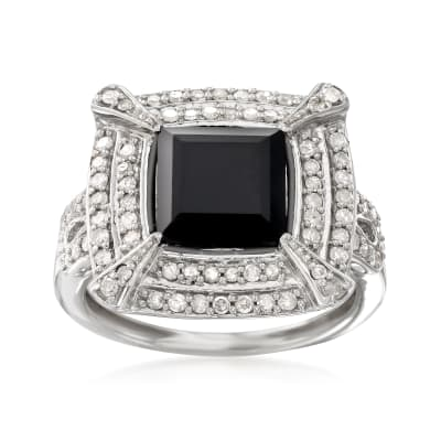 Black Onyx and .50 ct. t.w. Diamond Ring in Sterling Silver