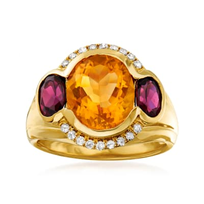 3.20 Carat Citrine and 1.40 ct. t.w. Rhodolite Garnet Ring with .16 ct. t.w. Diamonds in 14kt Yellow Gold