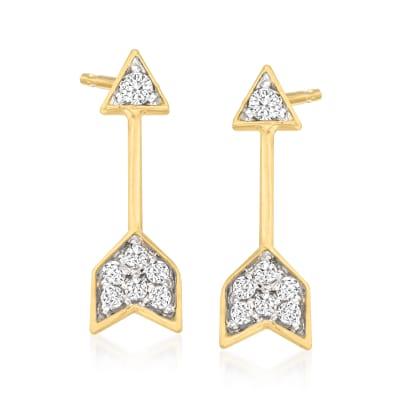 Diamond-Accented Arrow Stud Earrings in 14kt Yellow Gold