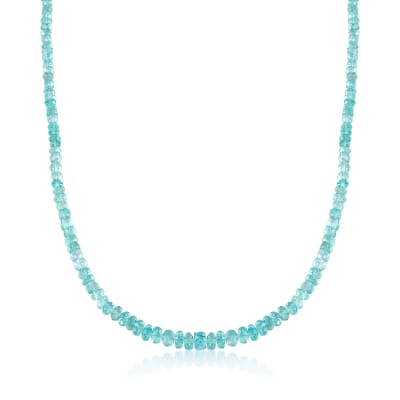 95.00 ct. t.w. Teal Apatite Bead Necklace with Sterling Silver