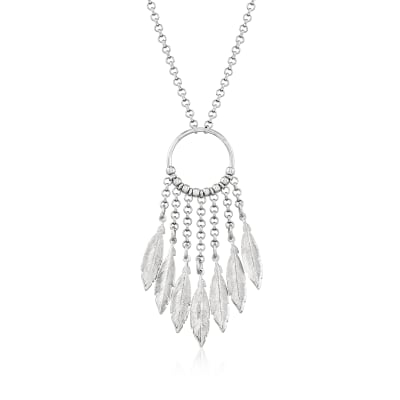 Italian Sterling Silver Open-Circle Feather Necklace