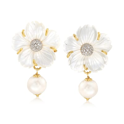 Italian Mother-Of-Pearl and 12mm Cultured Pearl Flower Drop Earrings with CZs in 18kt Gold Over Sterling