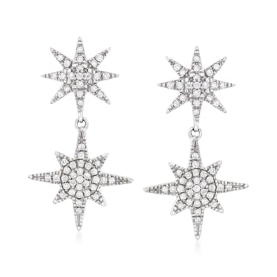 .33 ct. t.w. Diamond Double-Starburst Drop Earrings in Sterling Silver