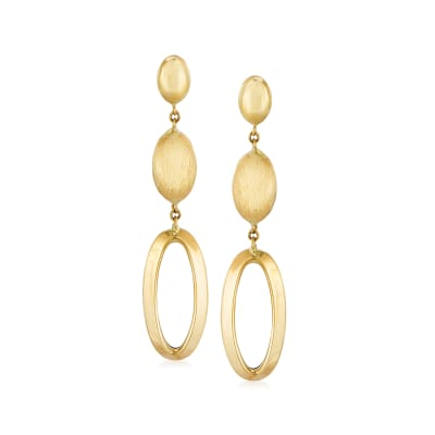 Italian 14kt Yellow Gold Oval Drop Earrings