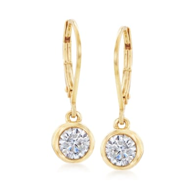 1.00 ct. t.w. Bezel-Set CZ Drop Earrings in 14kt Yellow Gold