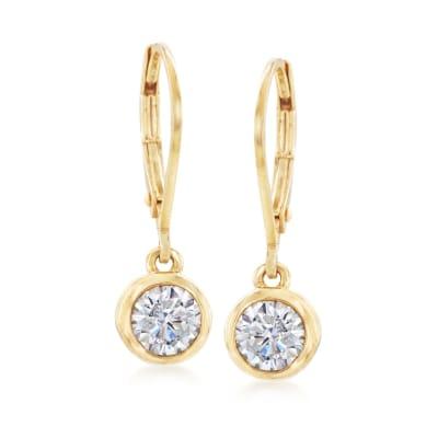1.00 ct. t.w. Bezel-Set CZ Drop Earrings in 14kt Yellow Gold