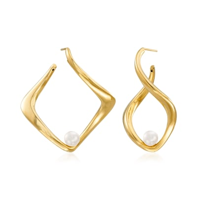 Italian 6-6.25mm Cultured Pearl Twisted Earrings in 18kt Gold Over Sterling