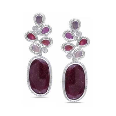 34.60 ct. t.w. Multicolored Sapphire and .74 ct. t.w. Diamond Drop Earrings in 14kt White Gold