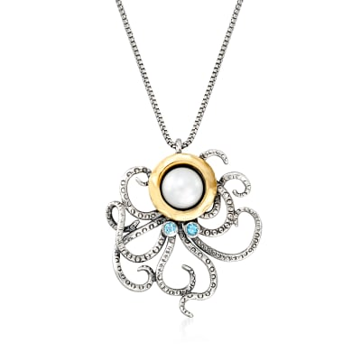 8.5-9mm Cultured Pearl and .10 ct. t.w. Sky Blue Topaz Octopus Necklace in Sterling Silver and 14kt Yellow Gold