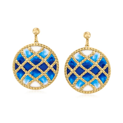 Italian 14kt Yellow Gold Drop Earrings with Multicolored Enamel
