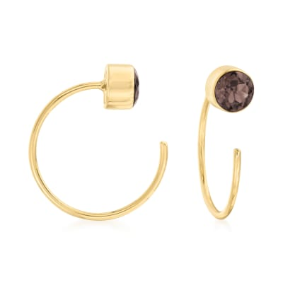 .40 ct. t.w. Smoky Quartz C-Hoop Earrings in 14kt Yellow Gold
