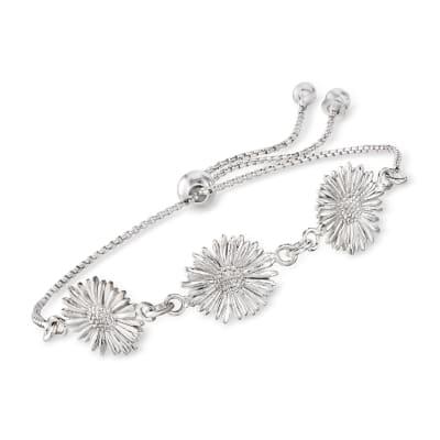 Italian Sterling Silver Daisy Bolo Bracelet