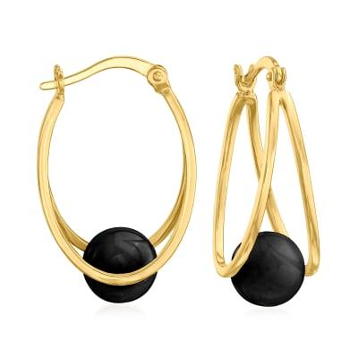 8-9mm Black Agate Double-Hoop Earrings in 18kt Gold Over Sterling